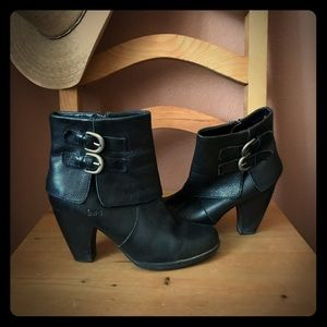 "Born ""boc"" high heel black leather boots. Size 8.5"
